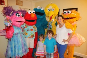 Charlie, Will, Me and the Sesame Street characters at Beaches Resort.