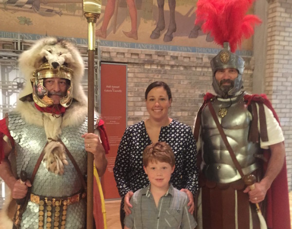 Exploring the Pompeii exhibit with kids.